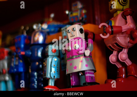 Close-up of Toy Robots on a Shelf - Stock Photo