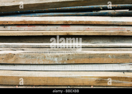 Pile of wooden planks, close-up - Stock Photo