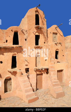 Ksar Ouled Soltane (fortified Berber granary) near Tataouine, Tunisia - Stock Photo