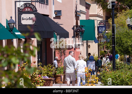 Street scene with shoppers walking along shops in Old Town shopping area of downtown Los Gatos California - Stock Photo