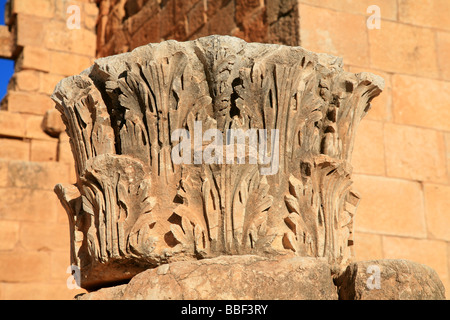 Corinthian capital at the Roman ruins of Sufetula in Sbeitla in Tunisia - Stock Photo