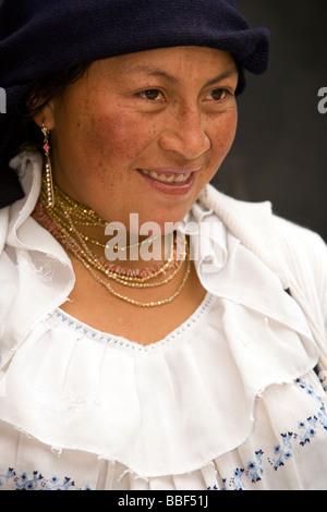Indigenous woman smiling - Cotacachi - Imbabura Province, Ecuador - Stock Photo