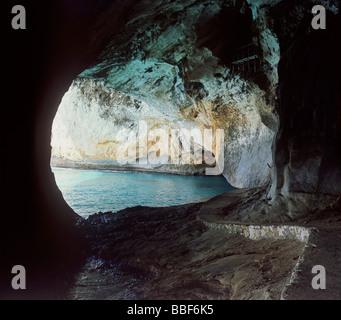 cave of grotta del bue marino near resort of cala gonone island of sardinia italy - Stock Photo