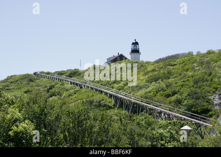 Seguin Light and the supply trestle - Stock Photo