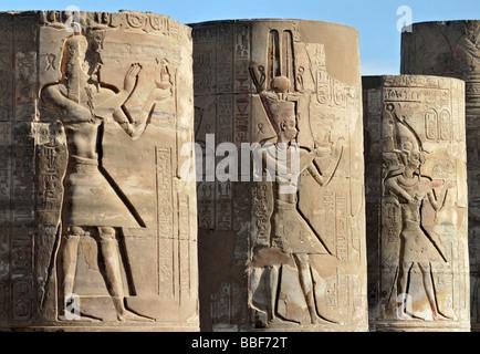 Pillars of Ruined Roman Forecourt of Temple of Haroeris and Sobek in Kom Ombo Egypt - Stock Photo