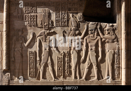 Crocodile Headed God Sobek and Other Divinities at Temple of Haroeris and Sobek in Kom Ombo Egypt - Stock Photo