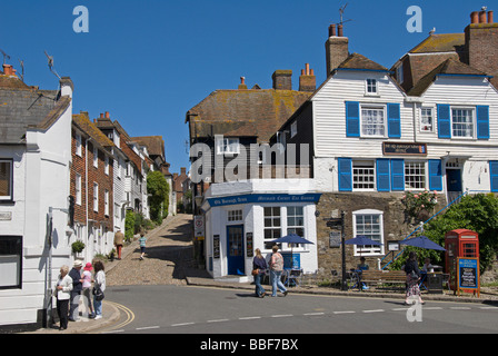 Rye, E Sussex, England, UK. Mermaid Street and the Old Borough Arms Hotel - Stock Photo