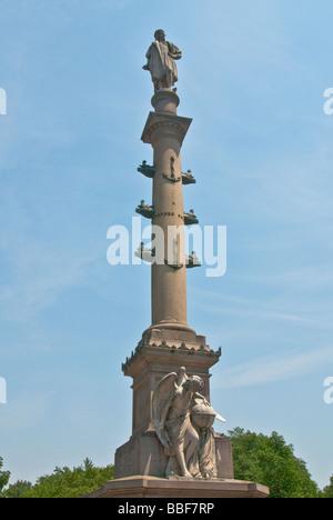 Statue of Columbus in Columbus Circle - Stock Photo