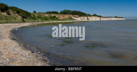 A panoramic view of Pegwell Bay in Kent. - Stock Photo