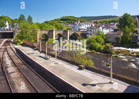 Famous River Dee Bridge built by Bishop Trevor in 1345 Llangollen Denbighshire North Wales Cymru UK United Kingdom - Stock Photo