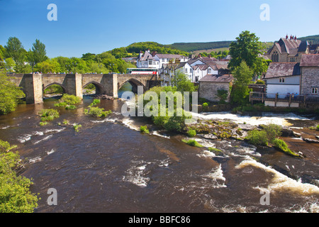 Famous River Dee Bridge built by Bishop Trevor in 1345 Llangollen Denbighshire North Wales UK United Kingdom GB - Stock Photo