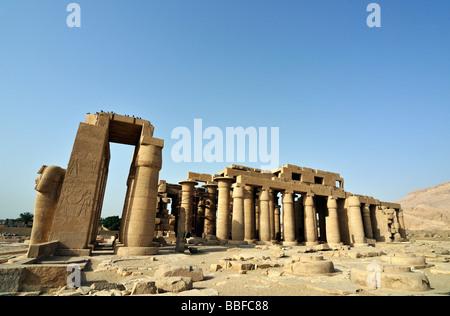 Ramesseum Mortuary Temple of Pharaoh Ramesses Ramses II Theban Necropolis West Bank of Luxor Egypt - Stock Photo