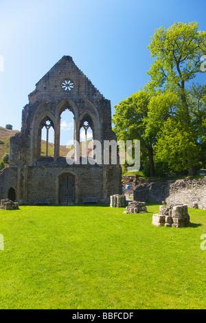 Valle Crucis 13th century Cistercian Abbey Ruins near Llangollen North Wales Cymru UK United Kingdom GB Great Britain - Stock Photo
