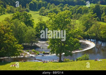 Horseshoe Falls Weir at Llantysilio built by Thomas Telford in 1808 River Dee near Llangollen Powys Wales Cymru - Stock Photo