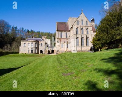 A sunny spring morning at Brinkburn Priory and Hall, near Rothbury in Northumberland England UK - Stock Photo