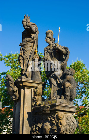 Statue of st Barbara the patron saint of miners on Charles Bridge in Prague Czech Republic Europe - Stock Photo