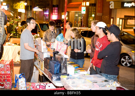 Downtown Vancouver Chinatown night market Vancouver BC Canada - Stock Photo