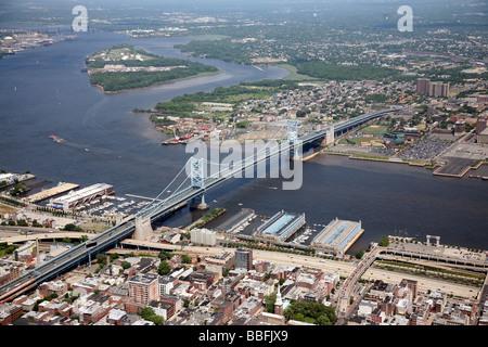 Aerial view of Benjamin Franklin Bridge, connecting Philadelphia, Pennsylvania, and Camden, New Jersey, U.S.A. USA - Stock Photo