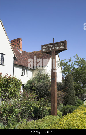 Signpost in the village of Much Hadham once Hertfordshires best kept village - Stock Photo