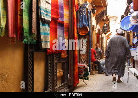Africa, North Africa, Morocco, Fes, Fès el Bali, Old Fes, Medina, Old Town Alleyway, Shopping - Stock Photo