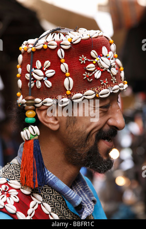 Africa, North Africa, Morocco, Fes, Fès el Bali, Old Fes, Medina, Old Town, Portrait, Street Entertainer - Stock Photo