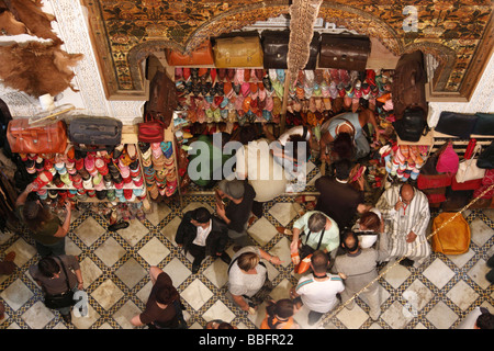Africa, North Africa, Morocco, Fes, Fès el Bali, Old Fes, Medina, Leather Shop, The Chouara Tannery - Stock Photo