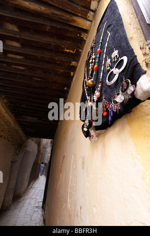 Africa, North Africa, Morocco, Fes, Fès el Bali, Old Fes, Medina, Old Town, Narrow Alley, Local Made Jewellery - Stock Photo