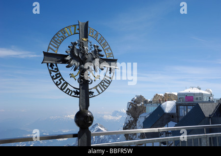 Monument at the summit of Zugspitze, Germanys highest mountain, Bavaria, Germany - Stock Photo