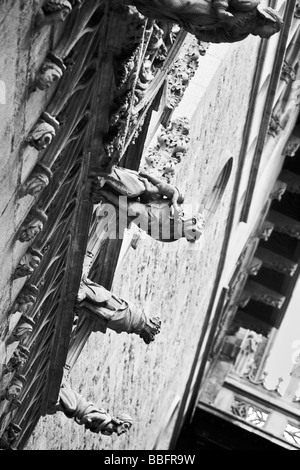 gargoyles on a street in Barcelona, Spain, Europe, barrio Gotico Vella Catalonia - Stock Photo