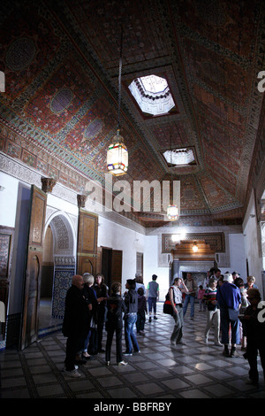 Africa, North Africa, Morocco, Marrakech, Medina, Mellah, Bahia Palace, Interior, Painted Wooden Ceiling - Stock Photo