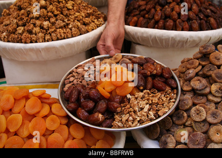 Africa, North Africa, Morocco, Fes, Fès el Bal, Old Fes, Medina, Old Town, Market, Fruit and Nuts - Stock Photo