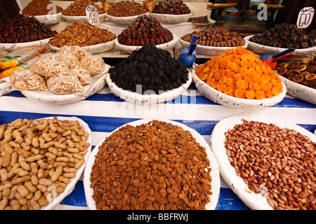 Africa, North Africa, Morocco, Fes, Fès el Bali, Old Fes, Medina, Old Town, Market, Dried Fruit and Nuts - Stock Photo