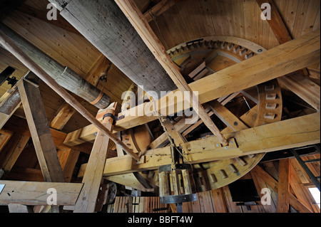 Drive of a 200 year old post mill in Beelitz Bock in Berlin, Brandenburg, Germany, Europe - Stock Photo