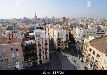 View over Plaza Fueros and the city from the city gates, Torres de Serranos, Valencia, Spain, Europe - Stock Photo
