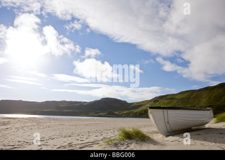 A rowboat on a beach on the isle of mull - Stock Photo