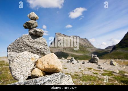 A stone sign on trollstigen road - Stock Photo