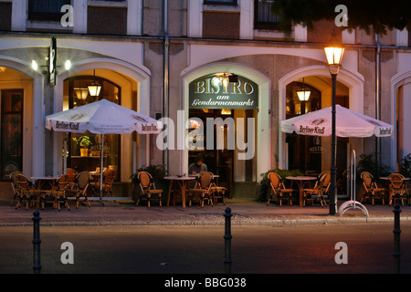 Bistro at the Gendarmenmarkt square, illuminated in the evening, Berlin, Germany, Europe - Stock Photo