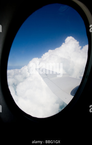 Looking out airplane window. - Stock Photo