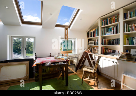 Interior,painter,art,studio,paint,draw,easel,artist,water color,canvas,house - Stock Photo