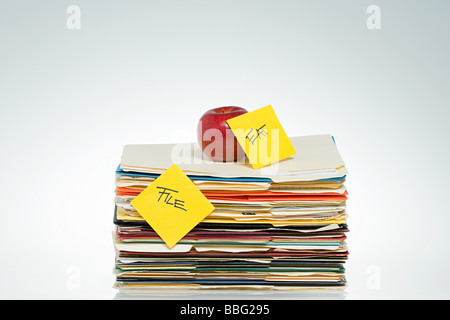 Apple on files - Stock Photo