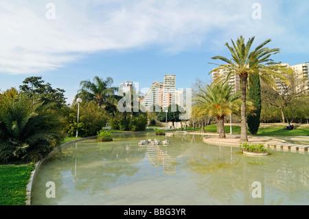 Water, lake, landscape architecture, cultivation, Jardines del Turia, Rio Turia, river bed, park, Park, Valencia, - Stock Photo
