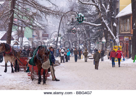 Horse Drawn Sleigh, Krupowki Street, Zakopane, Tatra Mountains, Podhale Region - Stock Photo