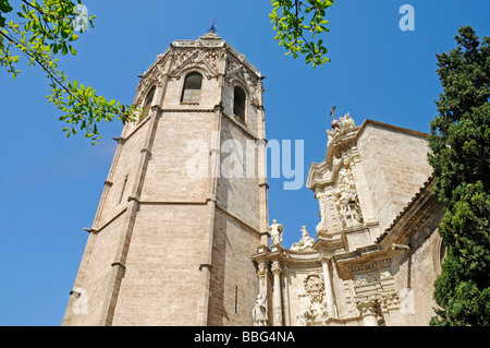Torre del Miguelete, Micalet, bell tower, cathedral, Catedral de Santa Maria, Plaza de la Reina, Valencia, Spain, - Stock Photo