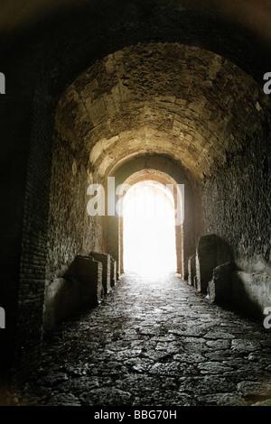Pompeii, Italy; Historic Italian ruins, aftermath of volcanic eruption - Stock Photo