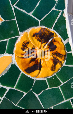 view on mosaic wall from ceramic broken tile - Stock Photo