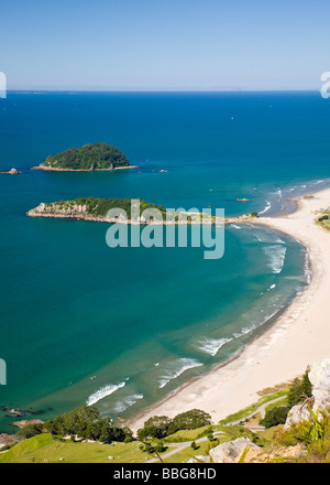 Omanu Beach viewed from the top of Mount Maunganui Bay of Plenty North Island New Zealand - Stock Photo