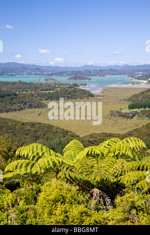 View from Mount Bledisloe lookout Waitangi Bay of Islands Paihia Northland New Zealand - Stock Photo