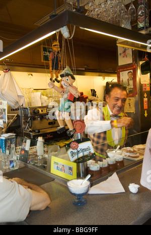 Pinotxo food stall in La Boqueria St Josep Market on La Rambla Barcelona Catalonia Spain - Stock Photo