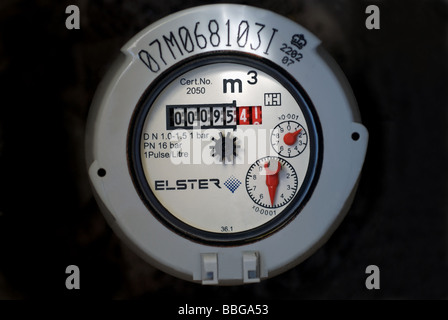 Domestic water meter, on a property in the Anglian Water region of the UK. - Stock Photo