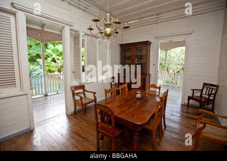 Old colonial house, Mahe Island, Seychelles, Indian Ocean, Africa - Stock Photo